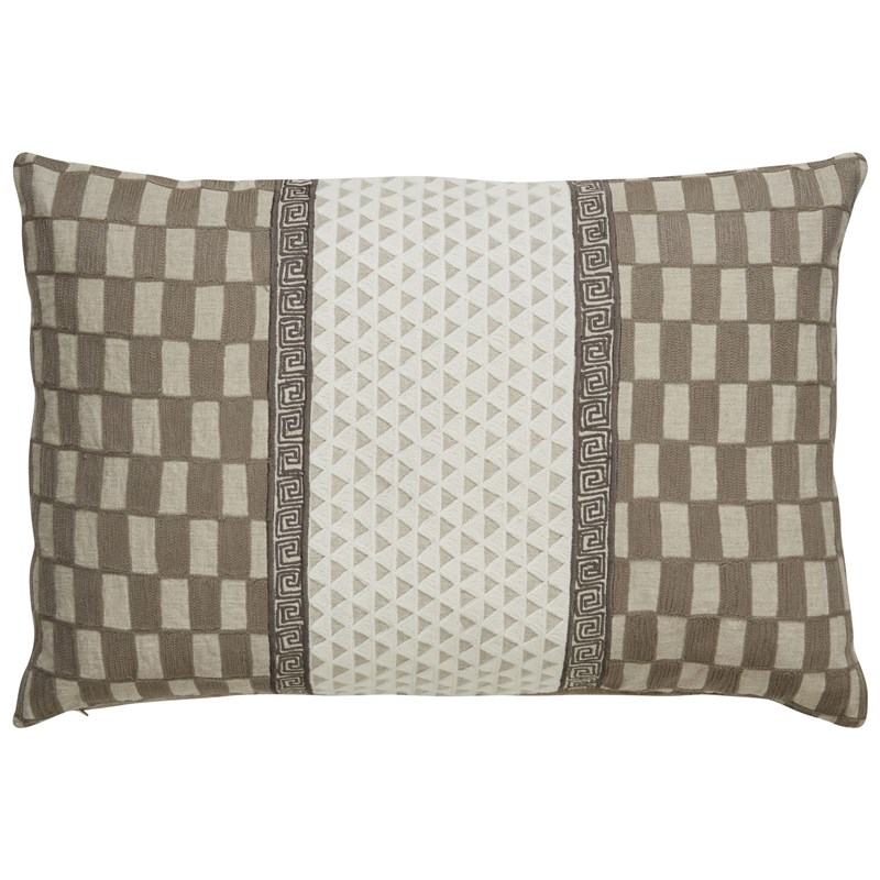 Nikki Chu By Jaipur Living Zulema Gray/ White Geometric Down Throw Pillow