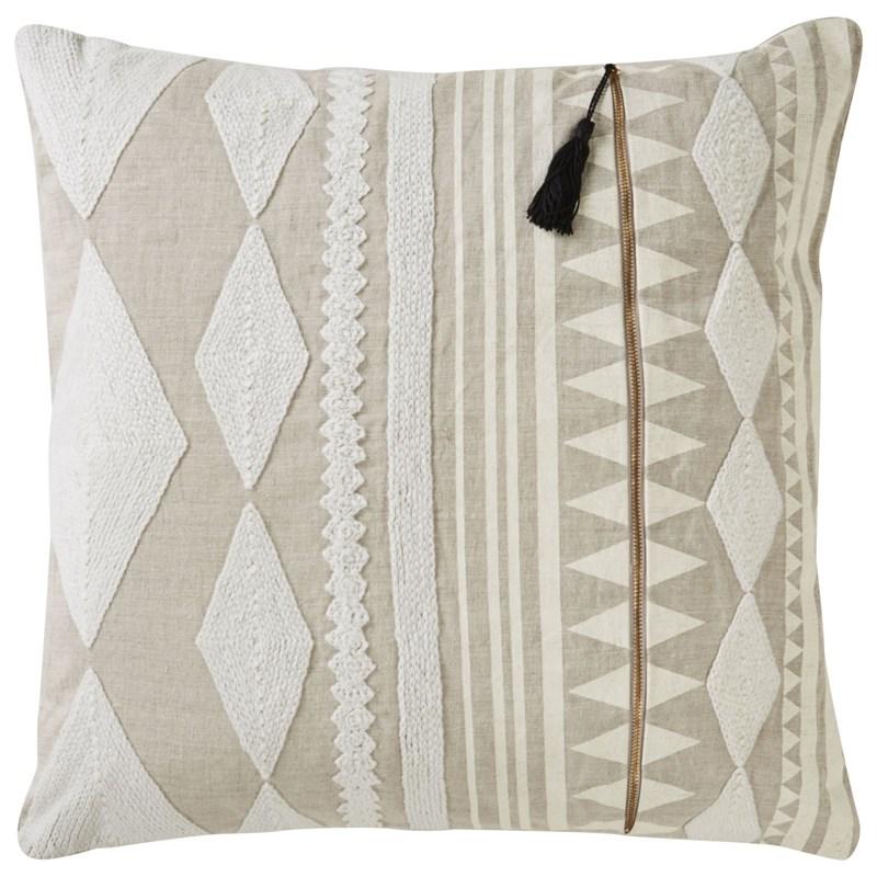 Nikki Chu By Jaipur Living Lonyn Beige/ White Geometric Down Throw Pillow