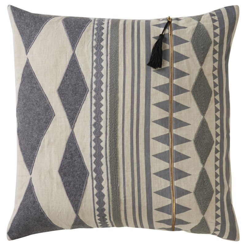 Nikki Chu By Jaipur Living Lonyn Beige/ Gray Geometric Down Throw Pillow