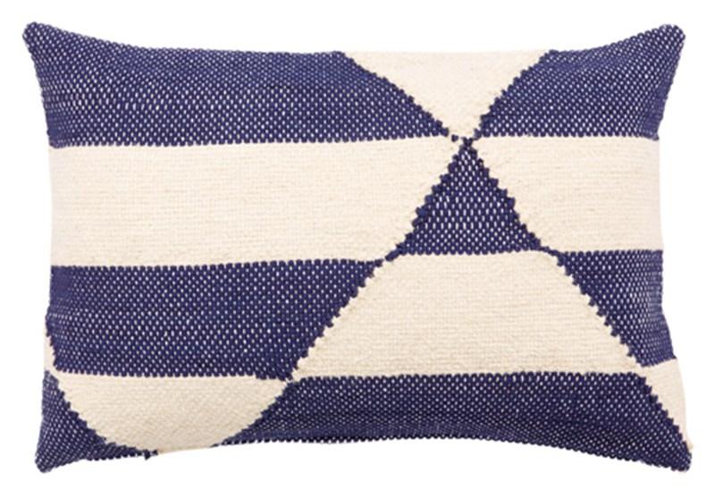 Nikki Chu By Jaipur Living Otway Cream/ Blue Geometric Down Throw Pillow