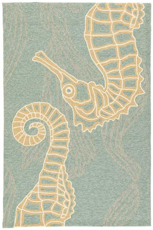 Jaipur Living Sea Horsing Around Indoor/ Outdoor Animal Blue/ Beige Area Rug