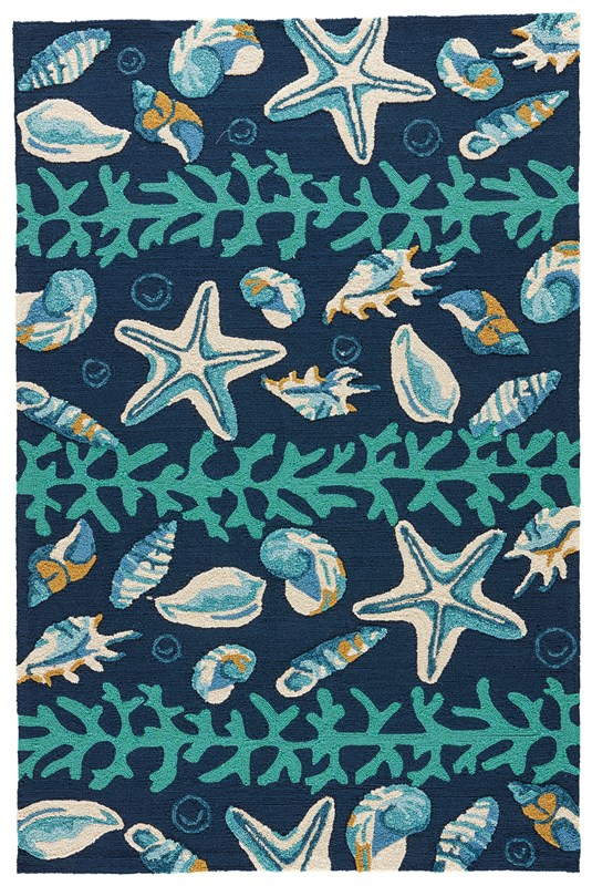 Jaipur Living Surf Indoor/ Outdoor Animal Dark Blue/ Green Area Rug