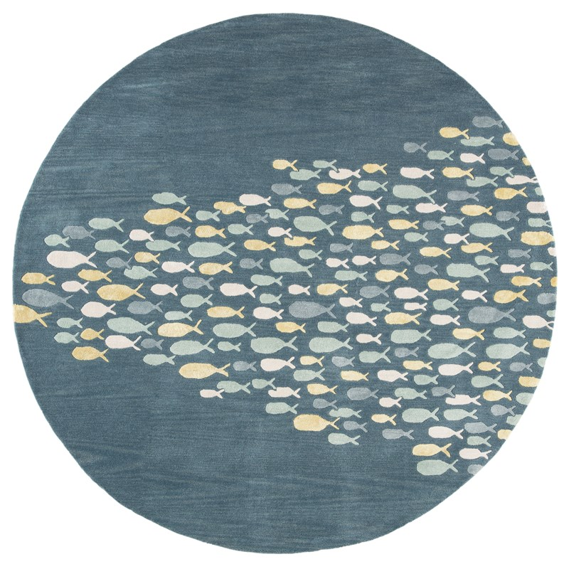 Jaipur Living Schooled Handmade Animal Blue/ Gray Round Area Rug