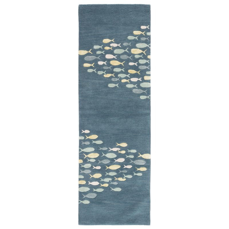 Jaipur Living Schooled Handmade Animal Blue/ Gray Runner Rug