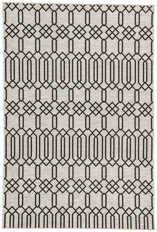 Nikki Chu By Jaipur Living Calcutta Indoor/ Outdoor Geometric Gray/ Black Area Rug