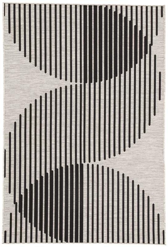 Nikki Chu By Jaipur Living Tangra Indoor/ Outdoor Geometric Silver/ Black Area Rug