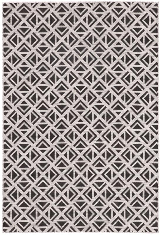 Nikki Chu By Jaipur Living Tanith Indoor/ Outdoor Geometric Light Gray/ Black Area Rug