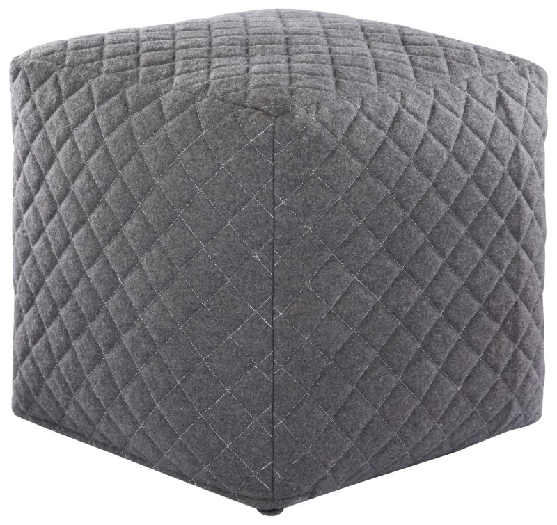Nikki Chu By Jaipur Living Ardent Gray Geometric Square Pouf