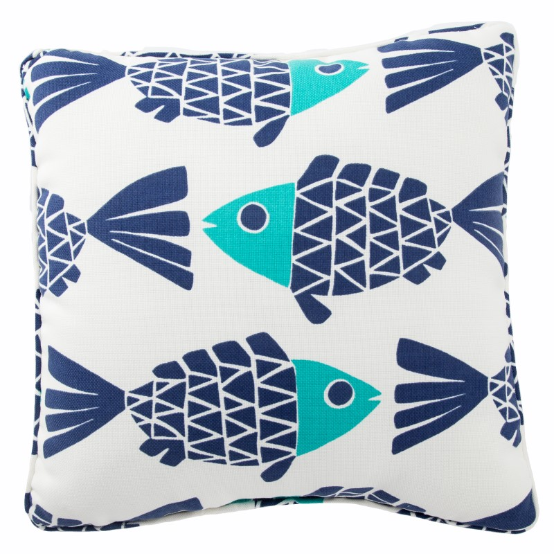 Jaipur Living Go Fish White/ Blue Animal Indoor/ Outdoor Throw Pillow