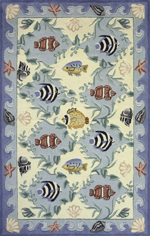 Coastal Collection Chinese Hand Hook Blue Area Rugs
