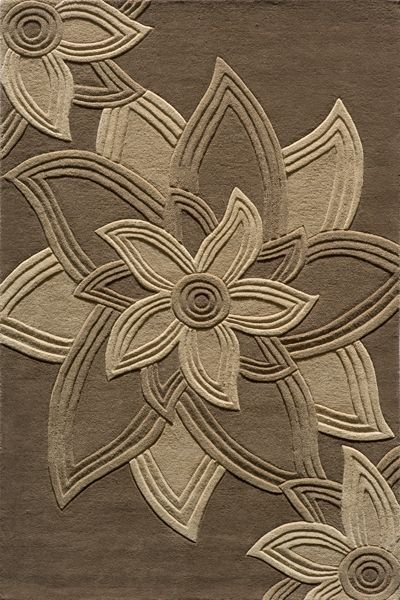 Delhi Collection Indian Hand Tufted Mocha Area Rugs