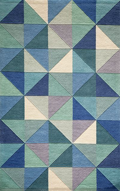 Delhi Collection Indian Hand Tufted Blue Area Rugs
