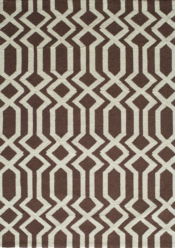 Geo Hand Hooked Brown Area Rugs