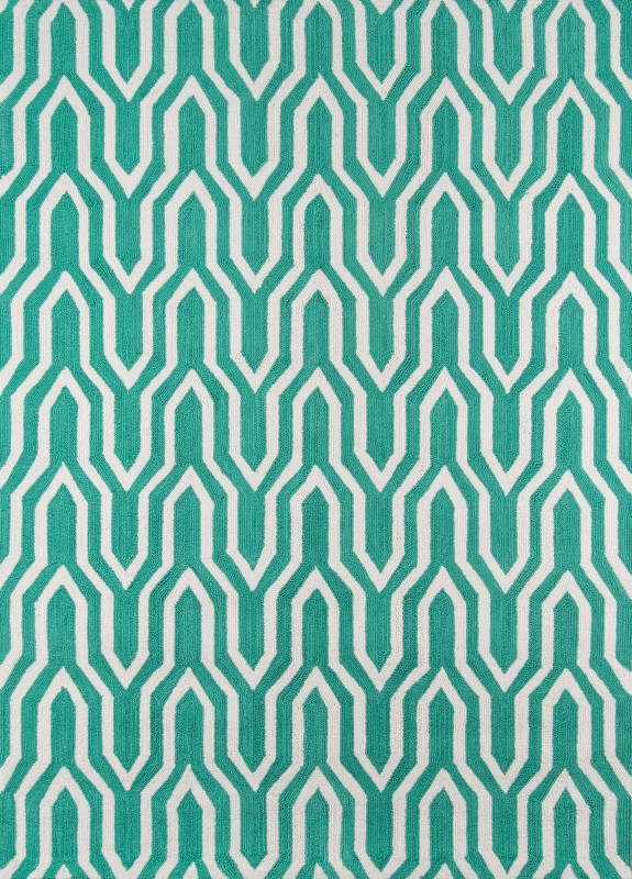 Geo Hand Hooked Green Area Rugs