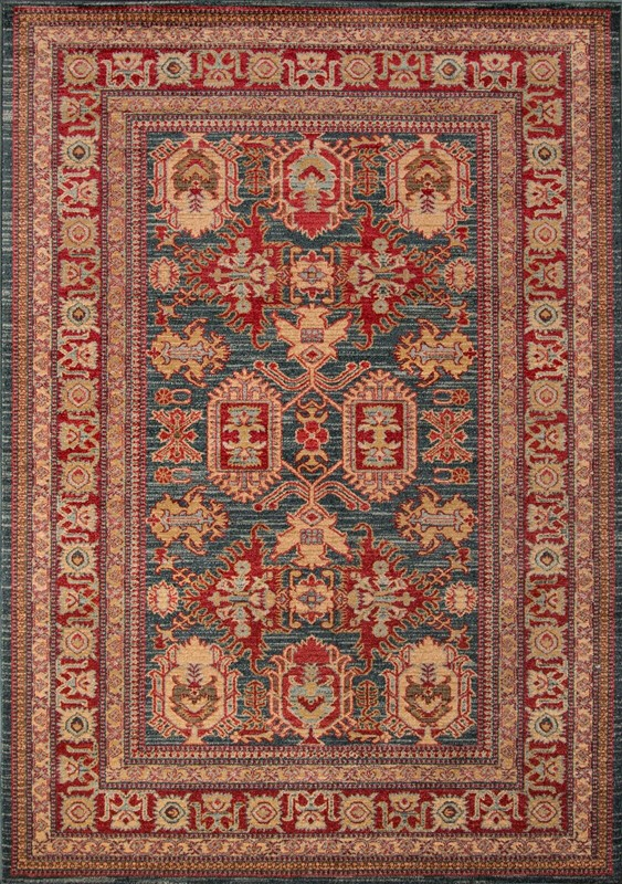 Ghazni Collection Turkish Machine Made Blue Area Rugs