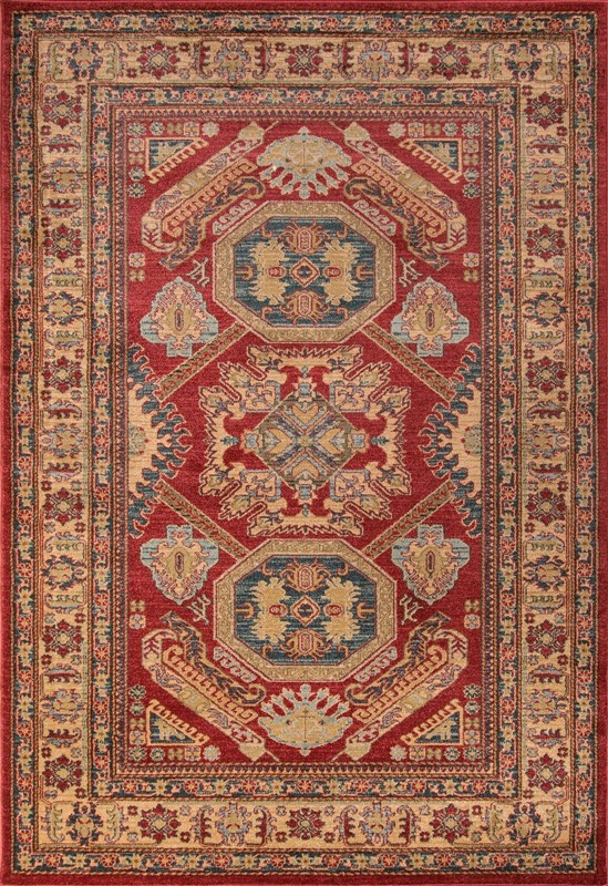 Ghazni Collection Turkish Machine Made Red Area Rugs