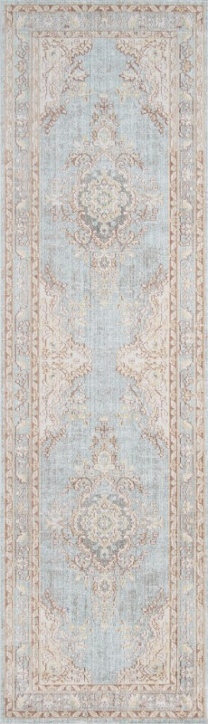 Isabella Machine Made Blue Area Rugs