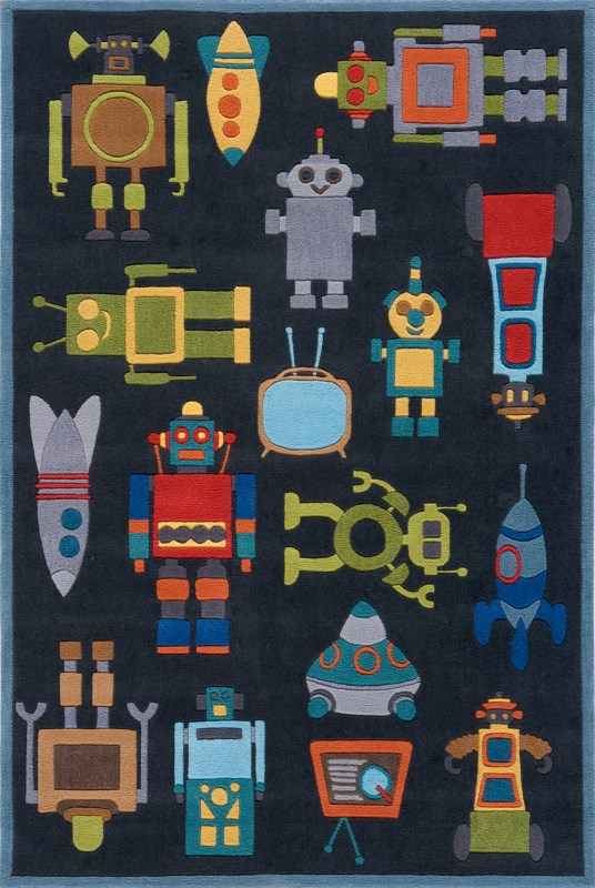 Lil Mo Whimsy Collection Chinese Hand Tufted Steel Blue Area Rugs