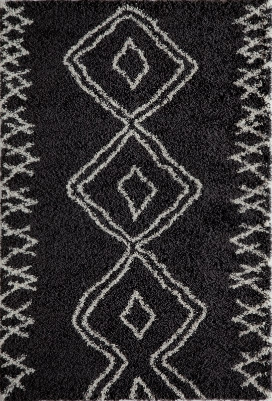 Maya Collection Turkish Machine Made Black Area Rugs