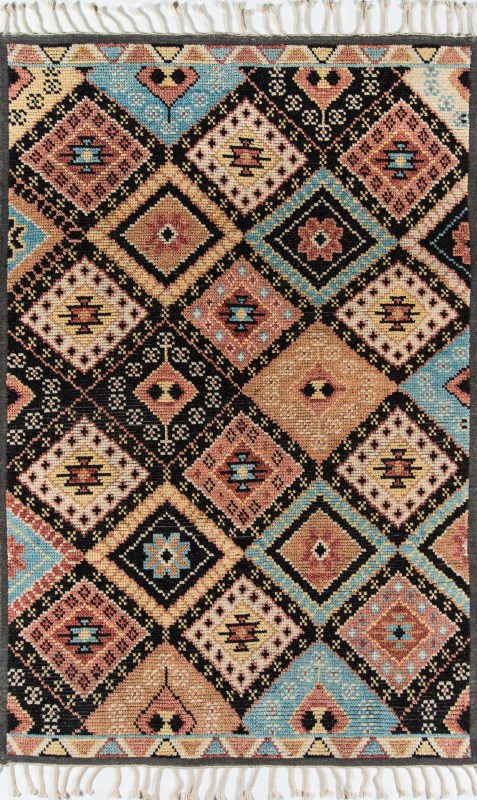 Nomad Collection Indian Hand Knotted Black Area Rugs