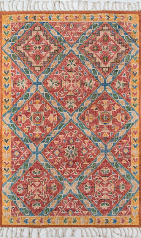 Nomad Collection Indian Hand Knotted Rust Area Rugs