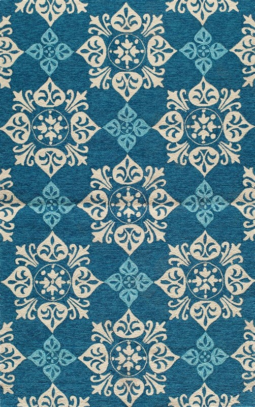 Veranda Collection Chinese Hand Hook Blue Area Rugs