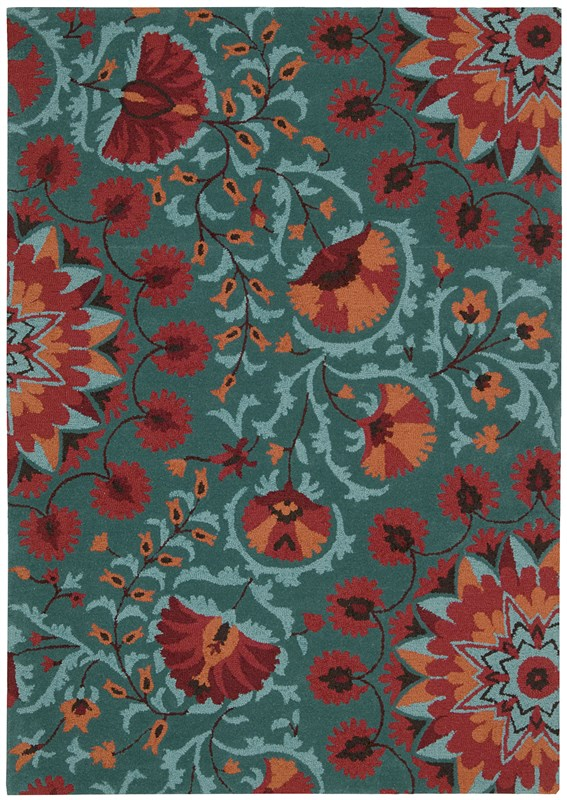 Suzani  Teal Area Rugs