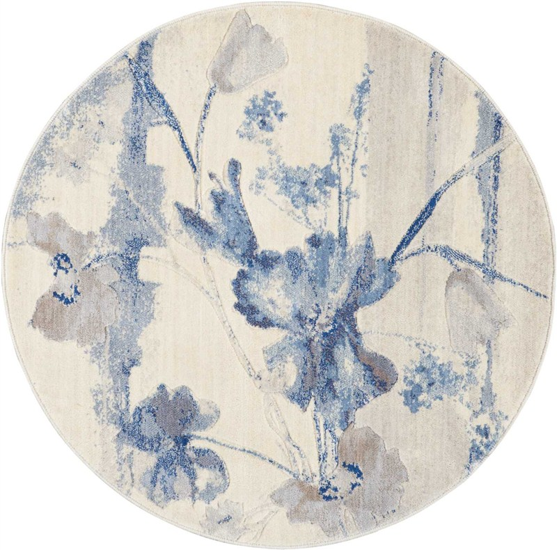Somerset Machine Woven Ivory Blue Area Rugs