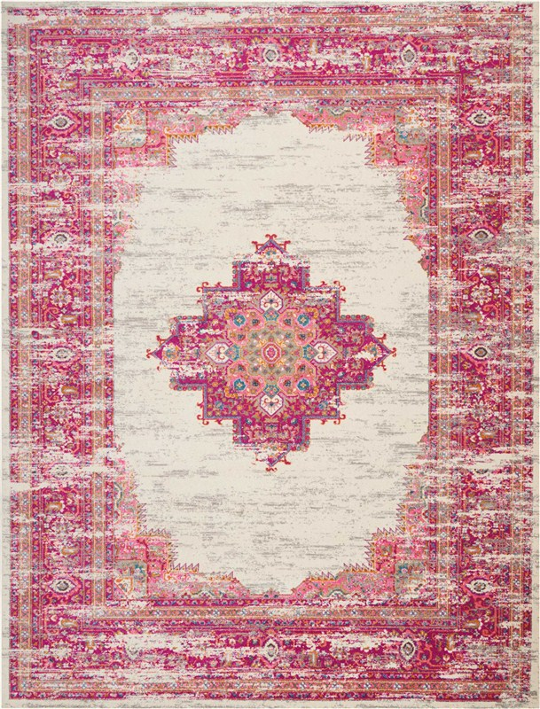 Passion Machine Woven Ivory/fushia Area Rugs