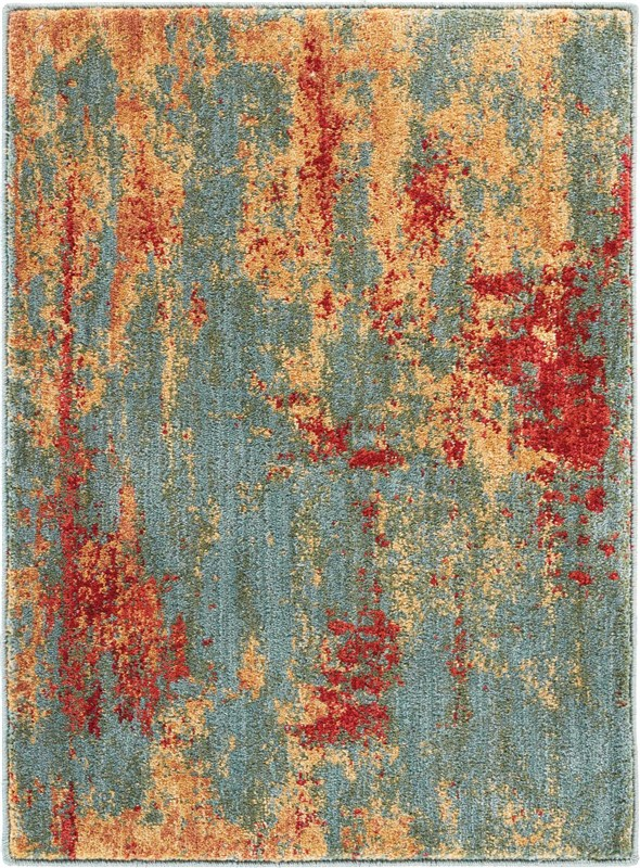 Somerset Power Loomed Teal Multicolor Area Rugs
