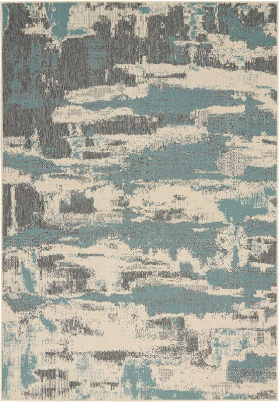 Bbl21 Lido Machine Made Cream/aqua Area Rugs