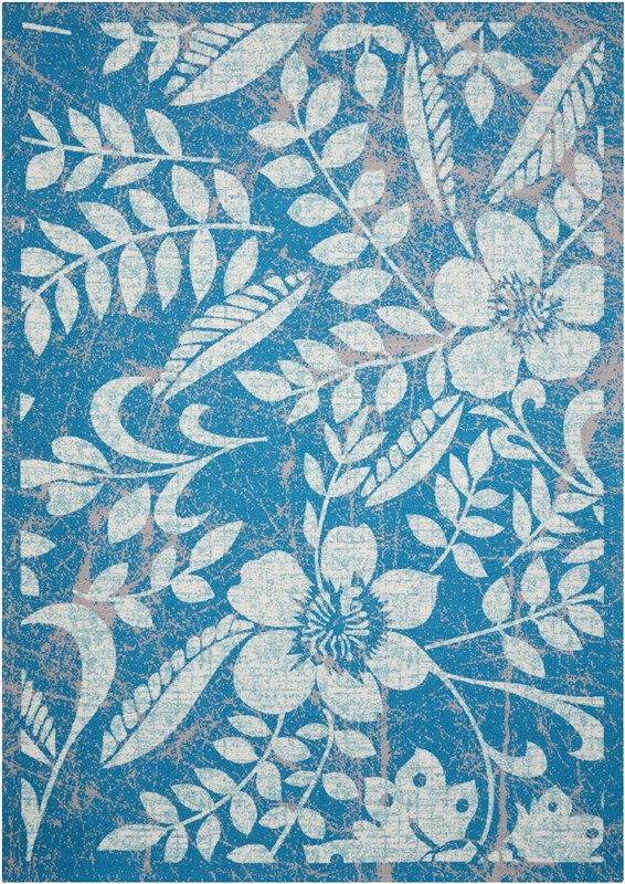 Coastal Machine Printed Blue Area Rugs