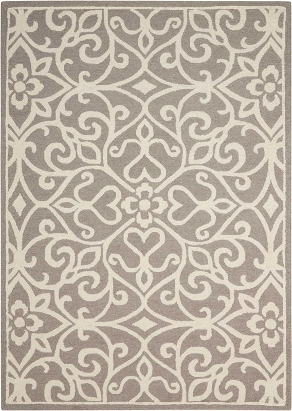 Linear Hand Hooked Navy/ivory Area Rugs