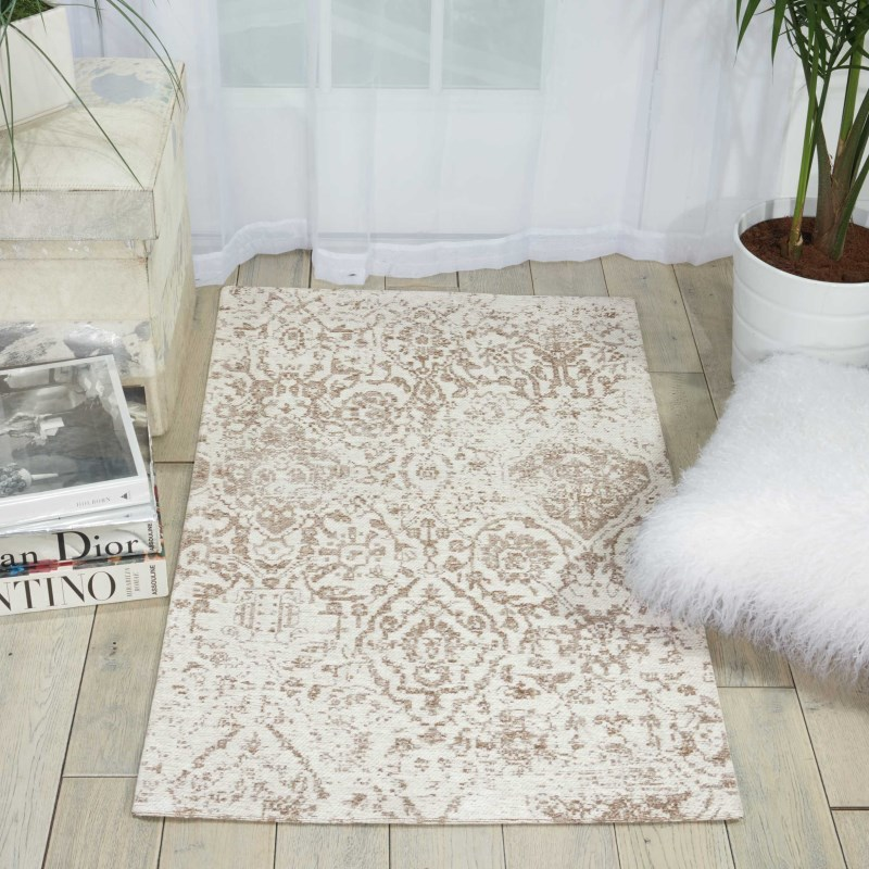 Damask Machine Woven Ivory Area Rugs