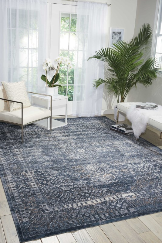 Malta Machine Made Ivory Blue Area Rugs