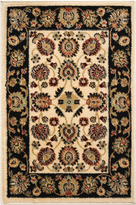 Delano Machine Woven Ivory/black Area Rugs