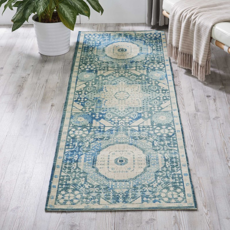 Madera Machine Woven Teal  Area Rugs