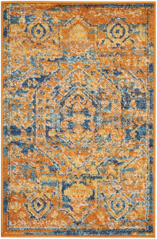 Passion Machine Woven Teal/sun Area Rugs