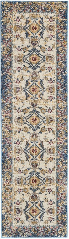 Covina Machine Woven Ivory Blue Area Rugs
