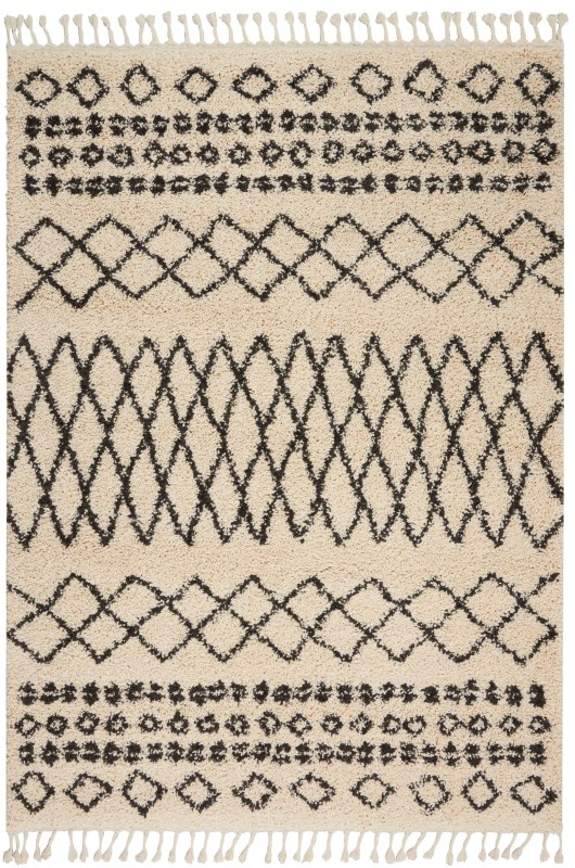 Moroccan Shag Machine Woven Cream Area Rugs