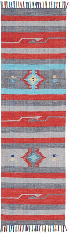 Baja Hand Woven Grey/red Area Rugs