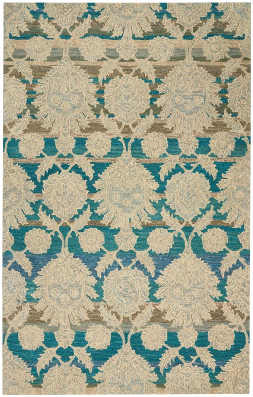India House Hand Tufted Ivory/teal Area Rugs