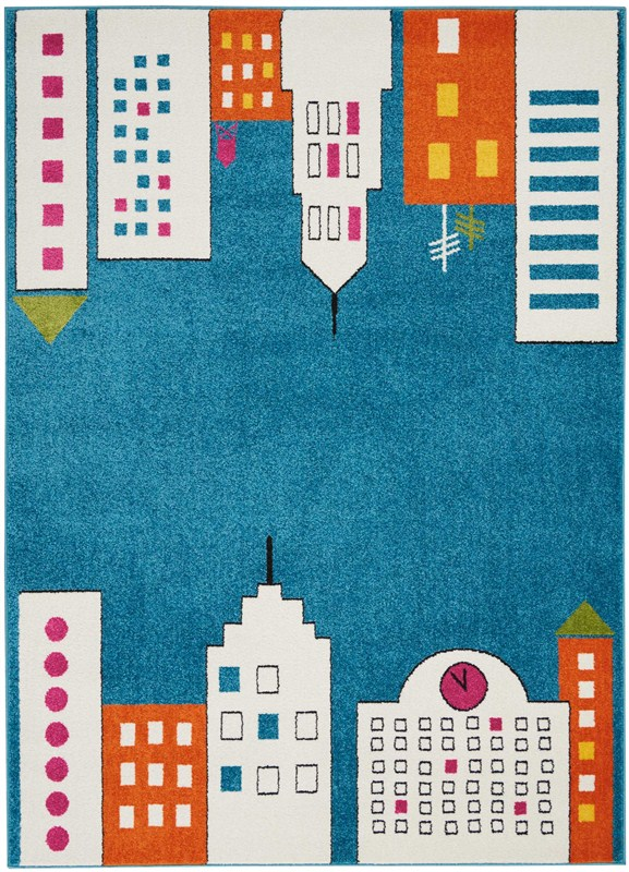 Miles Machine Woven Blue Area Rugs