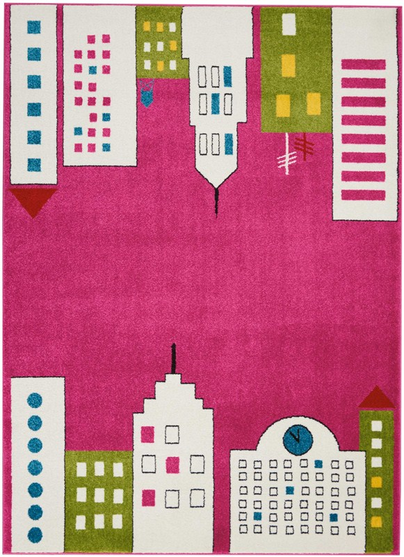Miles Machine Woven Pink Area Rugs