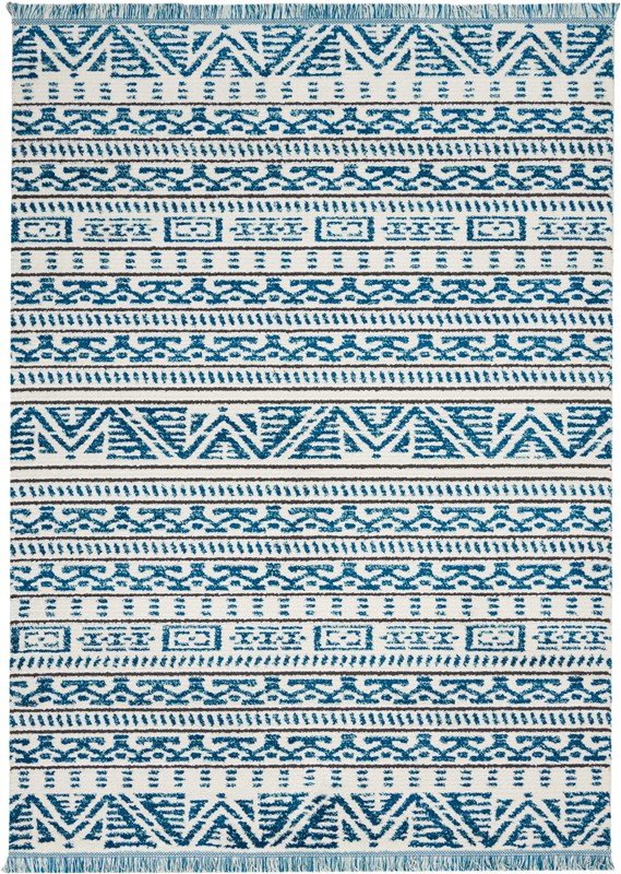 Kamala Machine Woven Ivory Blue Area Rugs