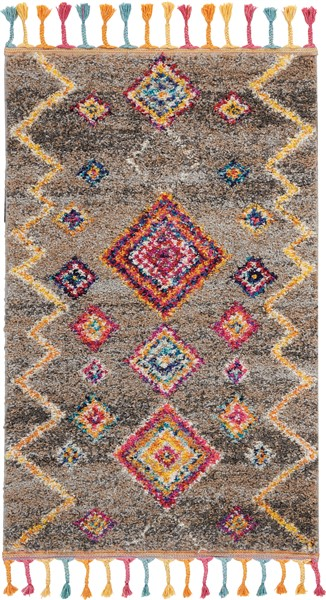 Moroccan Power Loomed Charcoal Grey Multicolor Area Rugs
