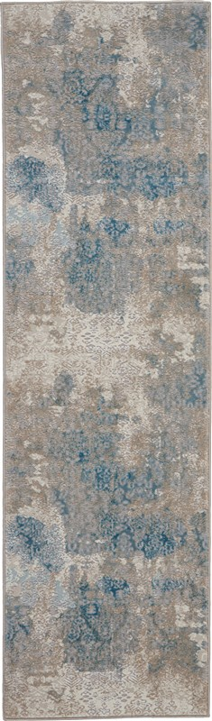 Nourison Karma 2'2 X 7'6 Ivory/light Blue Runner