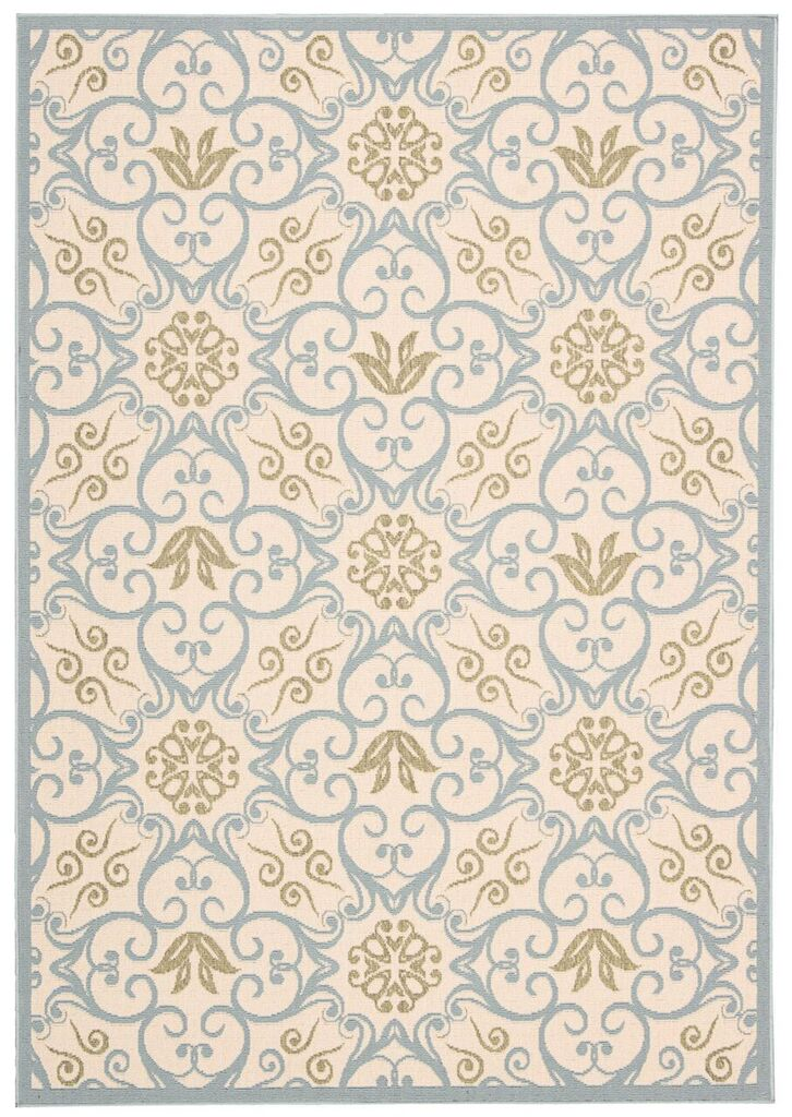 Caribbean Machine Woven Ivory Blue Area Rugs