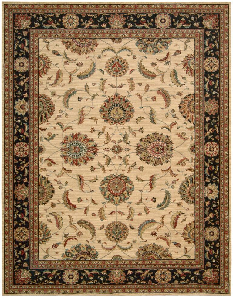 Living Treasures Machine Woven Ivory Black Area Rugs
