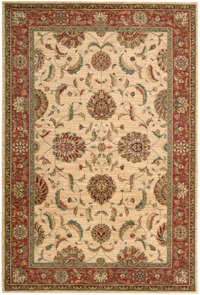 Living Treasures Machine Woven Ivory Red Area Rugs